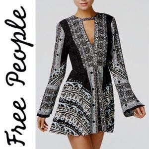 Free People Mini Dress Tegan Border Chocker-neck